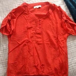 Orange/Red silk shirt from LOFT